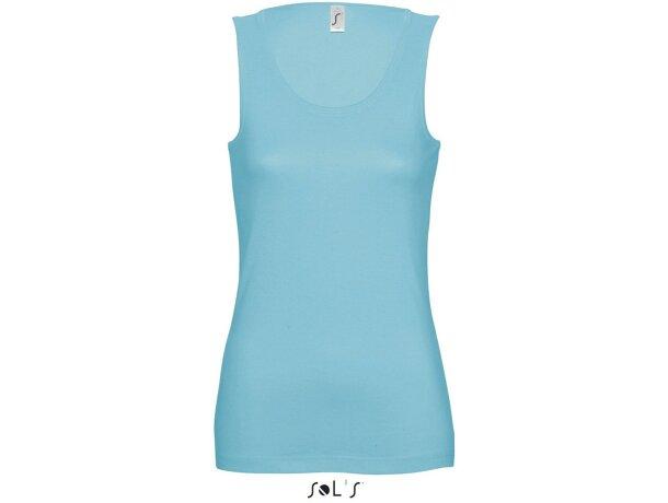 Camiseta sin mangas en algodón Sols grabada azul claro