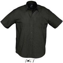 Camisa de hombre manga corta estilo Oxford Sols negra
