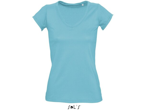 Camiseta de mujer cuello de pico Sols para empresas azul claro