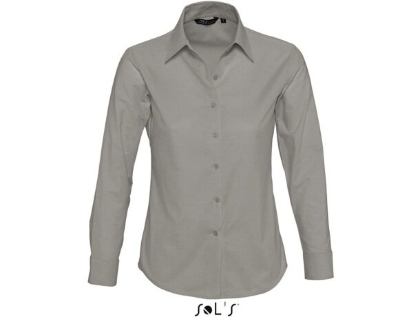 Camisa de mujer estilo oxford Sols personalizada gris