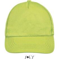 Gorra de 5 paneles cierre ajustable Sols grabada verde manzana