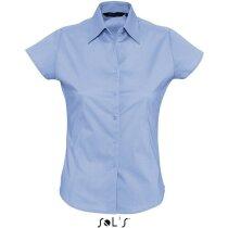 Camisa de mujer manga corta elastan Sols personalizada azul claro