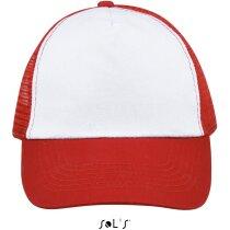 Gorra unisex para sublimacón Sols personalizada blanco/rojo