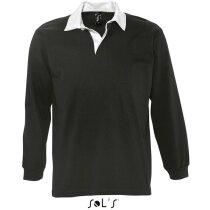 Polo de rugby en manga larga colores lisos Sols personalizado negro