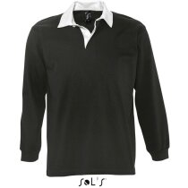 Polo de rugby en manga larga colores lisos Sols negro personalizado