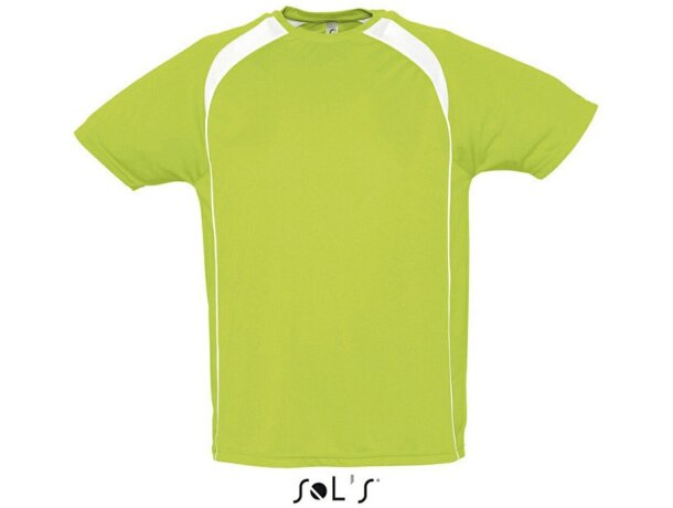 Camiseta técnica manga corta unisex Sols 135 gr Sols con logo verde manzana