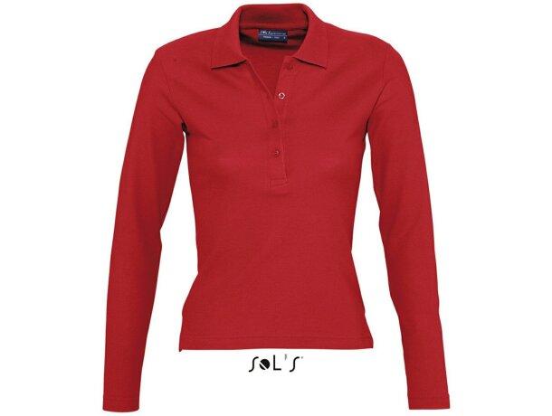 Polo de mujer entallado con manga larga Sols personalizado rojo