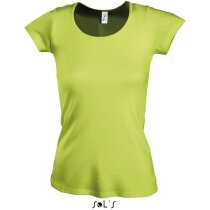 Camiseta de mujer cuello redondo Sols verde manzana