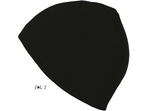 Gorro de punto unisex Sols personalizado negro