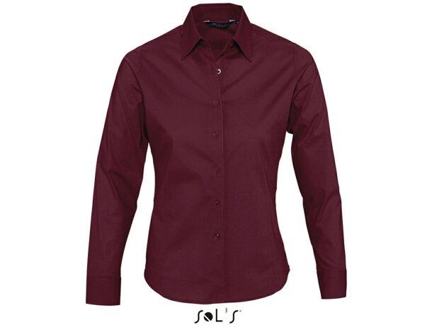 Camisa de mujer manga larga tejido popelin Sols personalizada burdeos