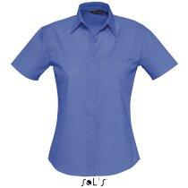 Camisa de mujer con manga corta algodón Sols azul