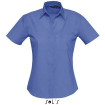 Camisa de mujer con manga corta algodón Sols personalizada azul