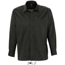 Camisa de hombre tejido popelein Sols negra