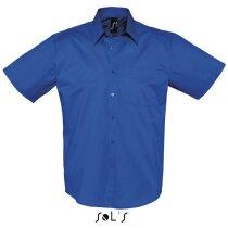Camisa de hombre manga corta 100% algodón Sols azul royal