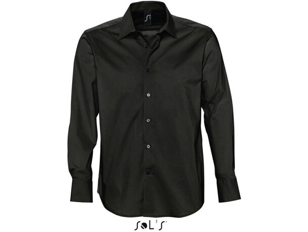 Camisa de hombre manga larga tejido popelin Sols negra