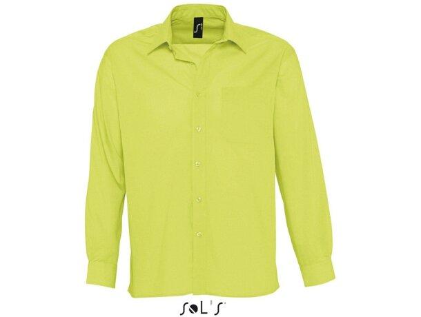 Camisa manga larga tejido popelin hombre Sols verde manzana