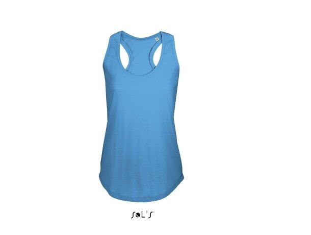 Camiseta de tirantes de mujer en algodón peinado Sols azul claro