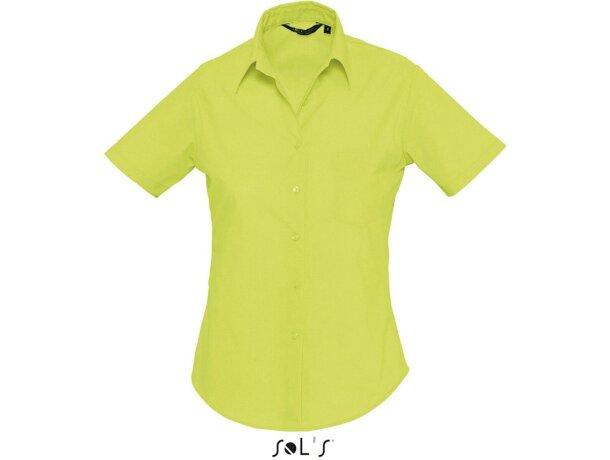 Camisa de mujer manga corta tejido popelin Sols personalizada verde manzana