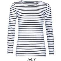 Camiseta de mujer manga larga a rayas Sols blanco/marino