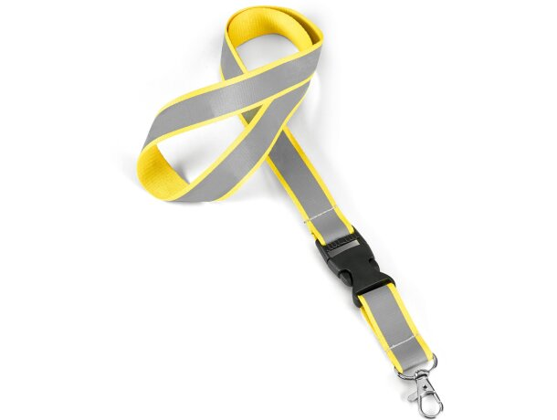 Lanyard con banda reflectante personalizado amarillo