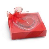 Vela con forma de corazón en soporte de cristal personalizada roja