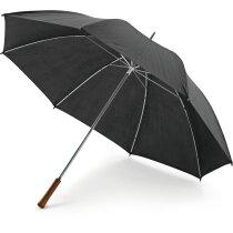 Paraguas de golf sencillo mango de madera barato negro