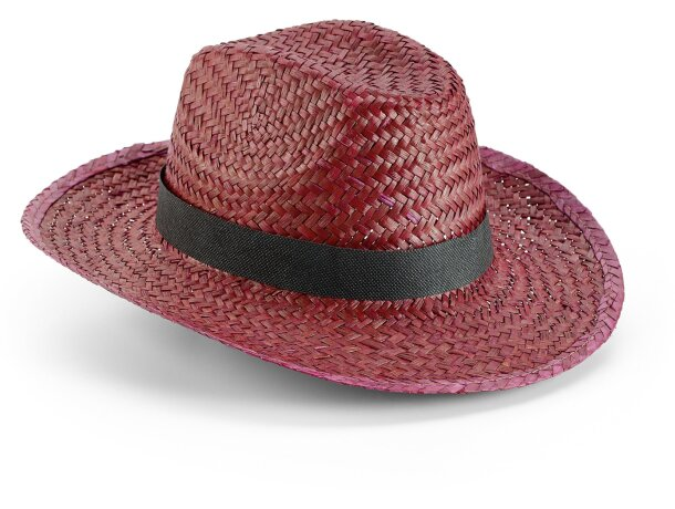 Sombrero de paja vaquero de colores personalizado burdeos