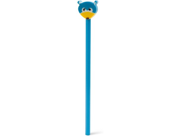 Lápiz con goma en forma de muñeco personalizado azul