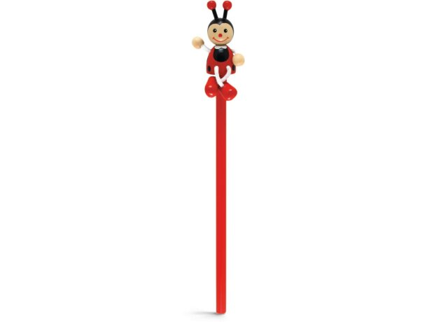 Lápiz para tampografía con muñeco de madera rojo personalizado