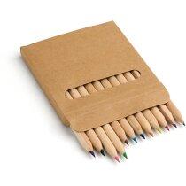 Caja de cartón con 12 lápices de madera de colores grabado