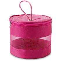 Neceser de red con cremallera y asa personalizado rosa