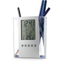 Porta lápices con estación meteorológica personalizado cromado satinado