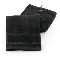 Toalla de golf con gancho en algodón 400 gr personalizada negra