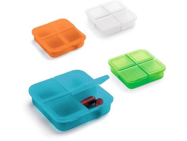 Pastillero cuadrado de colores con 4 departamentos