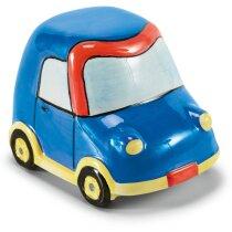 Hucha de cerámica con motivos infantiles personalizada azul