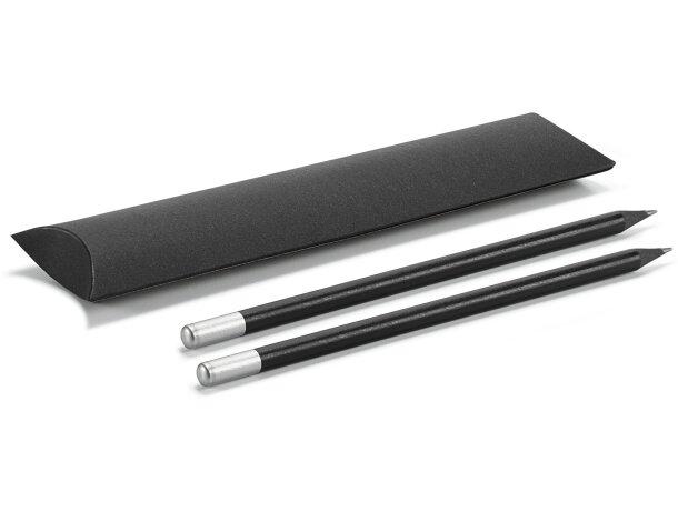 Estuche en cartón con dos lápices negros cromado satinado personalizado
