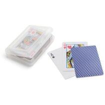 Baraja de 54 cartas en caja con logo azul