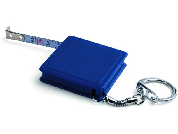 Llavero con flexómetro 1m personalizado azul