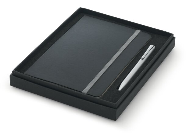 conjunto de boligrafo y bloc en caja negra personalizado gris claro