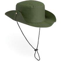 Sombrero de poliester con cordón ajustable en dos colores personalizado verde