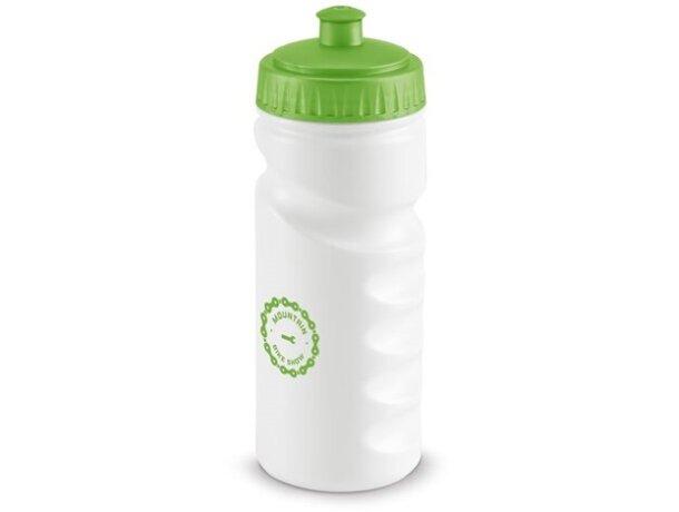Botella deportiva con cuerpo blanco 550 ml verde claro