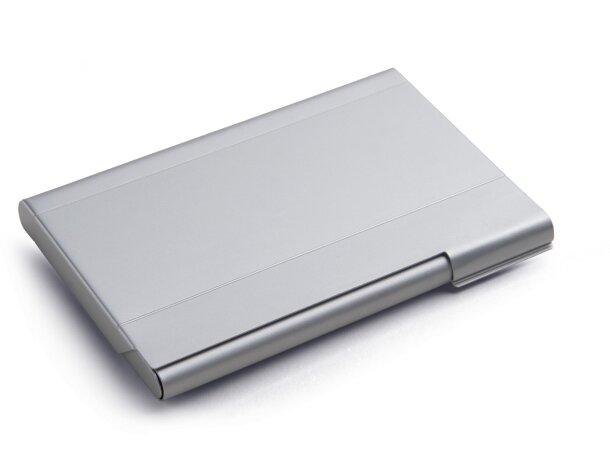 Tarjetero con logo de aluminio gran capacidad cromado satinado