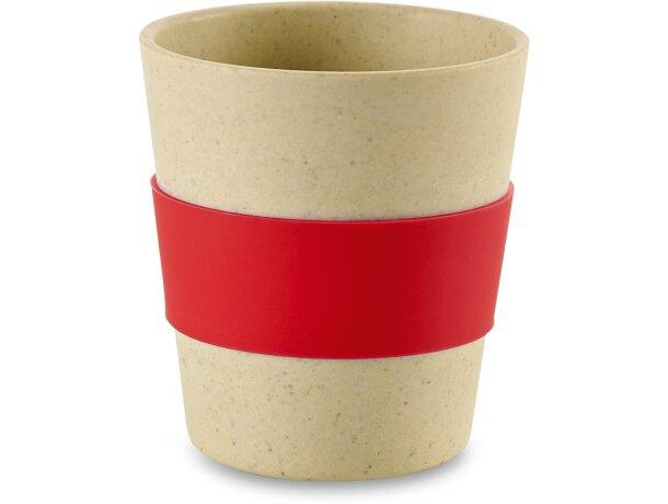 Vaso de madera con banda de silicona personalizado rojo