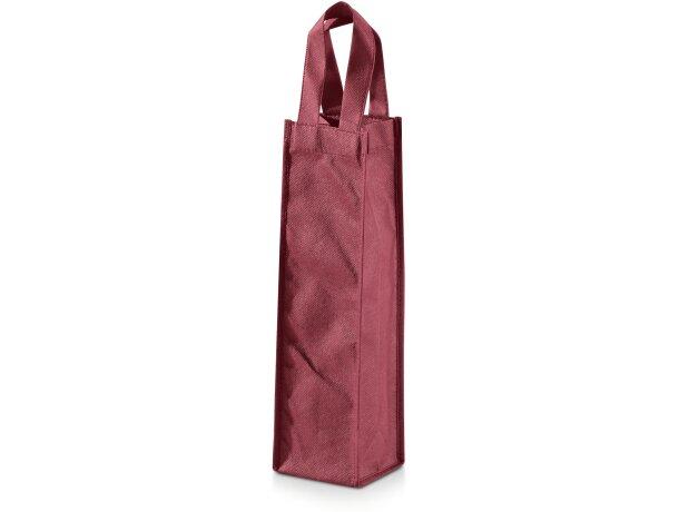 Bolsa de regalo en no tejido para 1 botella personalizada burdeos