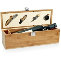 Set de vino en caja botellero de madera con 4 accesorios