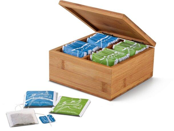 Caja de madera para infisiones personalizada natural