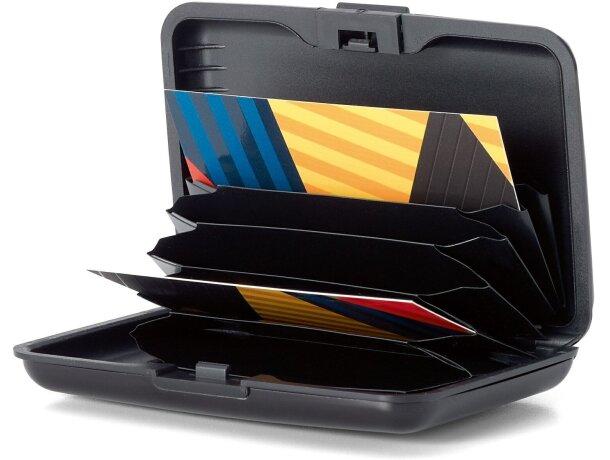 Tarjetero de aluminio en colores personalizado negro