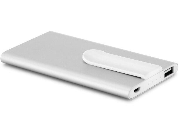 Batería portátil de 4000 mAh con clip personalizada cromado satinado