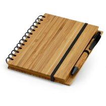 Libreta con tapas y bolígrafo de bambú grabada natural