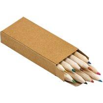 Caja de diez lápices de colores personalizada natural